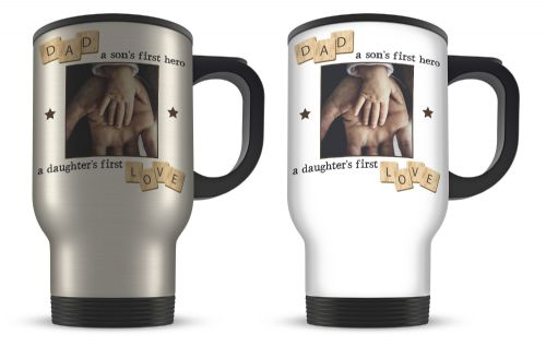 14oz Personalised Dad, A Son's First Hero, A Daughter's First Love Novelty Gift Aluminium Travel Mug
